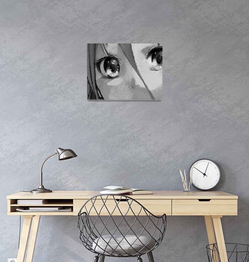 """""""Anime Girl Eyes Black And White""""  (2015) by RubinoFineArt"""