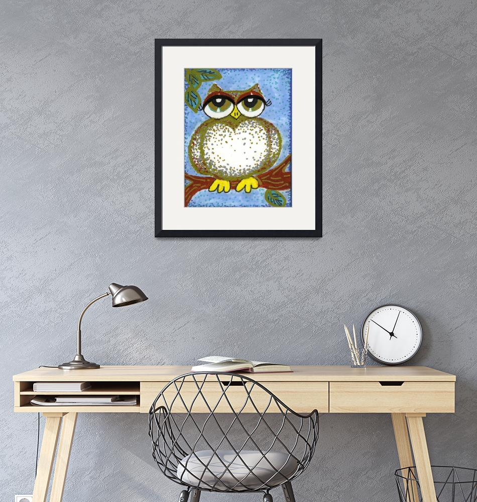 """""""SILVER AND GOLD SPECKLED OWL""""  (2010) by pauladileo"""