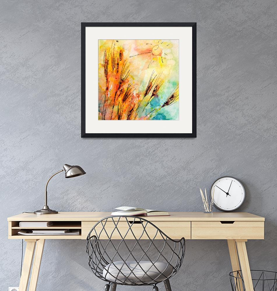 """""""Harvest Sun and Rye Modern Watercolor by Ginette""""  (2014) by GinetteCallaway"""