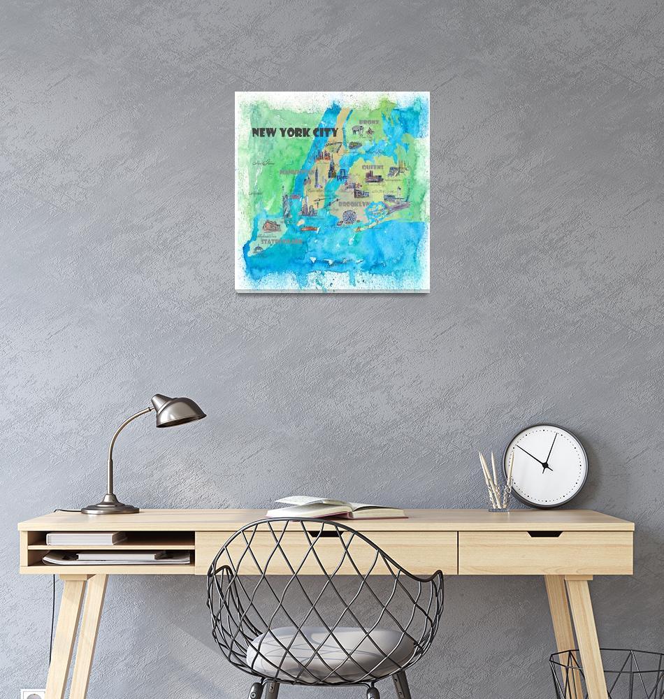 """New York City Fine Art Print Retro Vintage Map""  (2018) by arthop77"