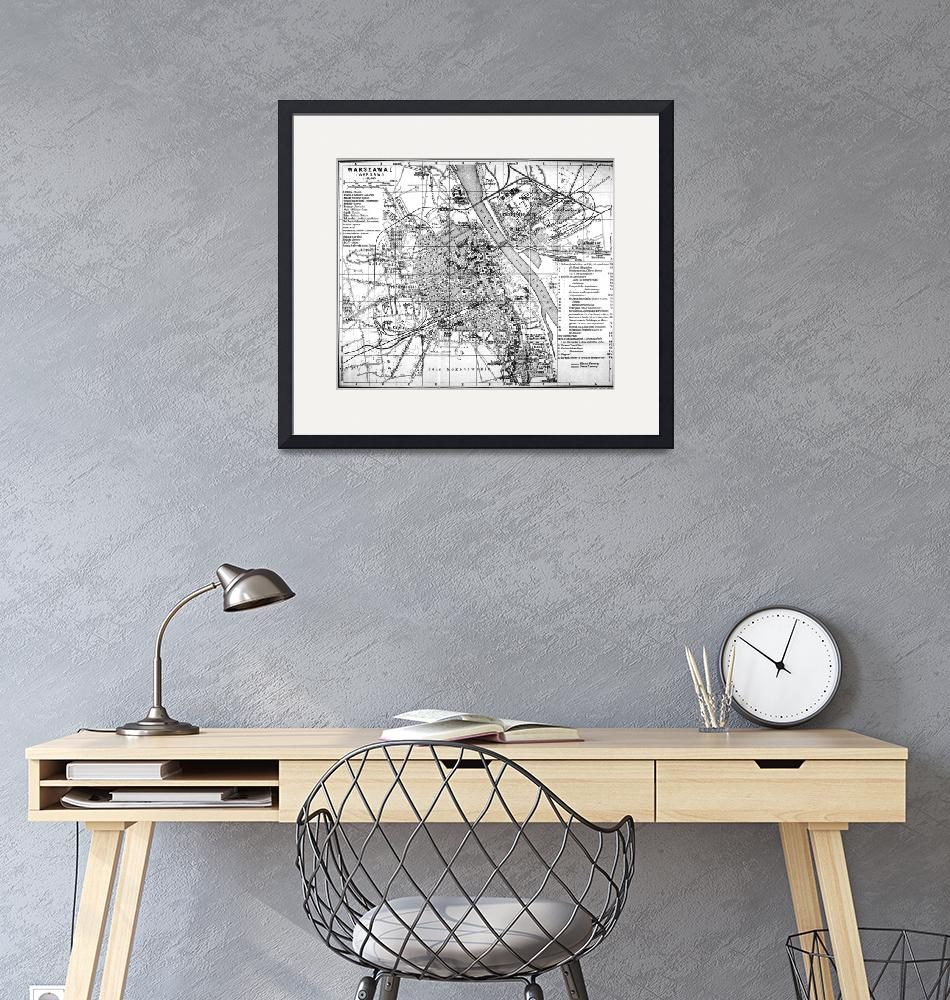 """""""Vintage Map of Warsaw Poland (1914) BW""""  by Alleycatshirts"""