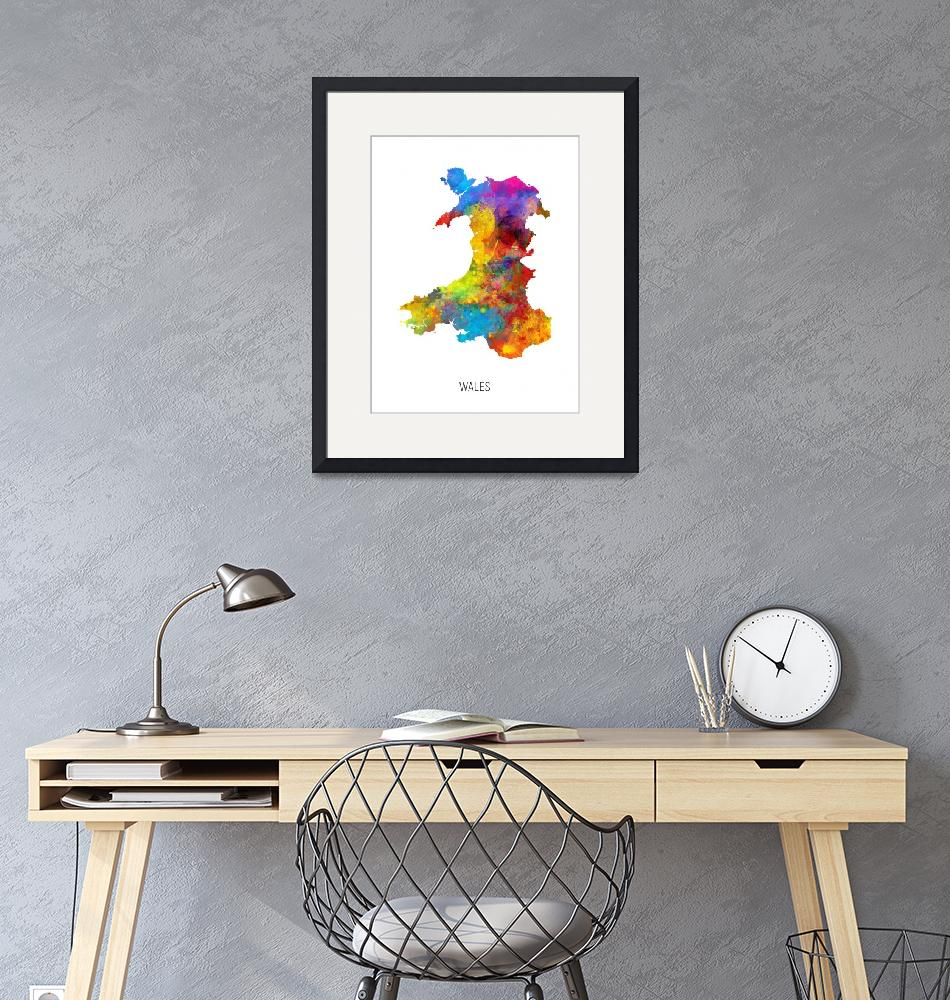 """Wales Watercolor Map""  (2019) by ModernArtPrints"
