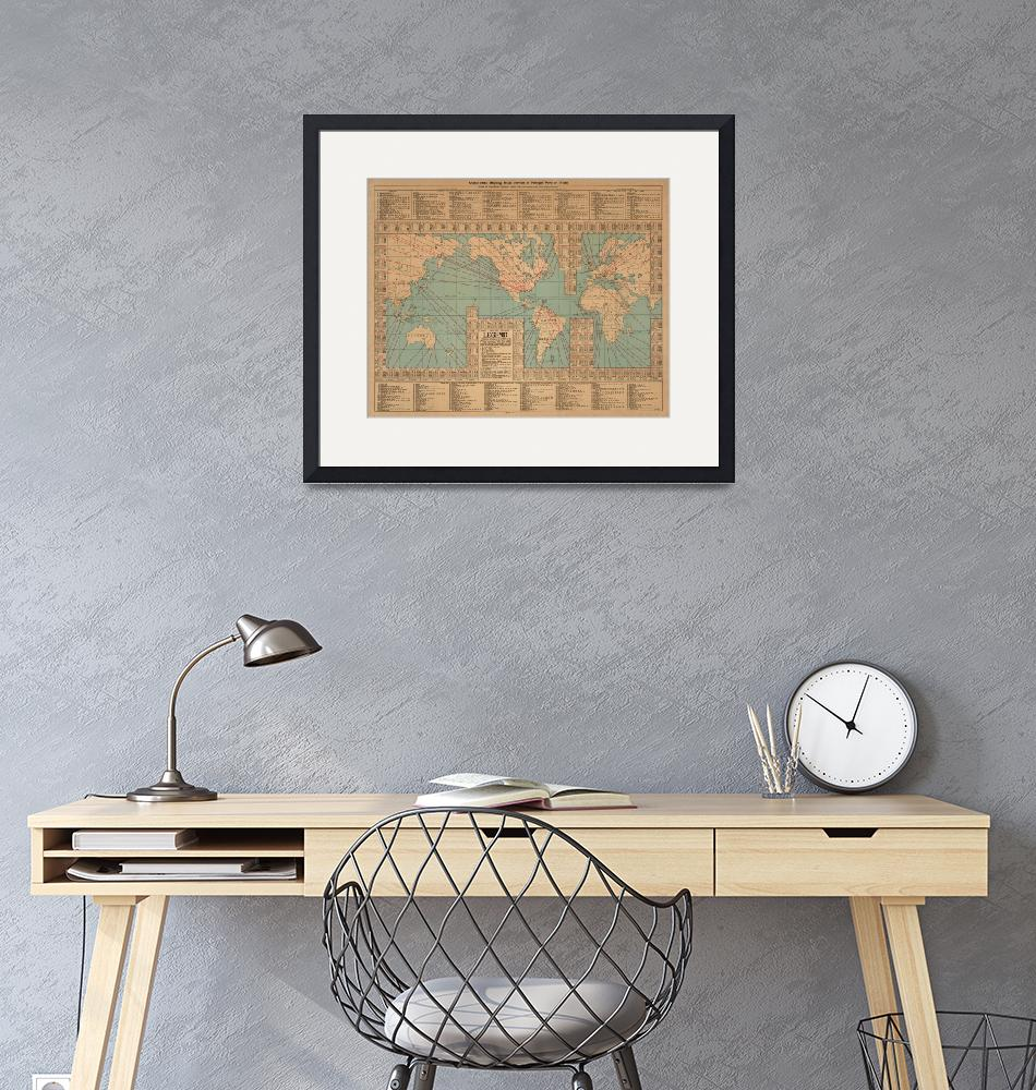 """""""Vintage World Map Shipping Routes and Speeds (1923"""" by Alleycatshirts"""