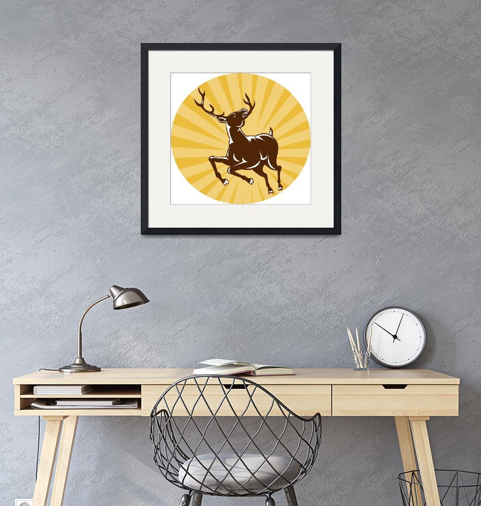 """stag deer jumping""  (2013) by patrimonio"