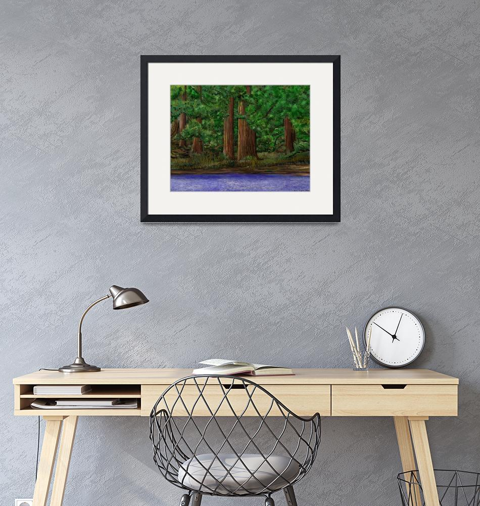 """""""Trees and Forest With Foreground Water""""  (2018) by stephenthedigitalartist"""