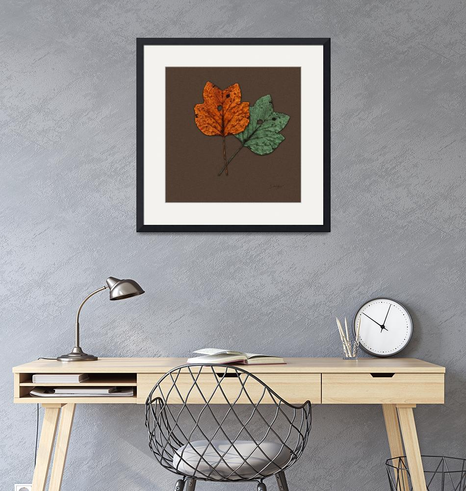 """Two Autumn Leaves Modern Minimalism by Ginette""  (2009) by GinetteCallaway"