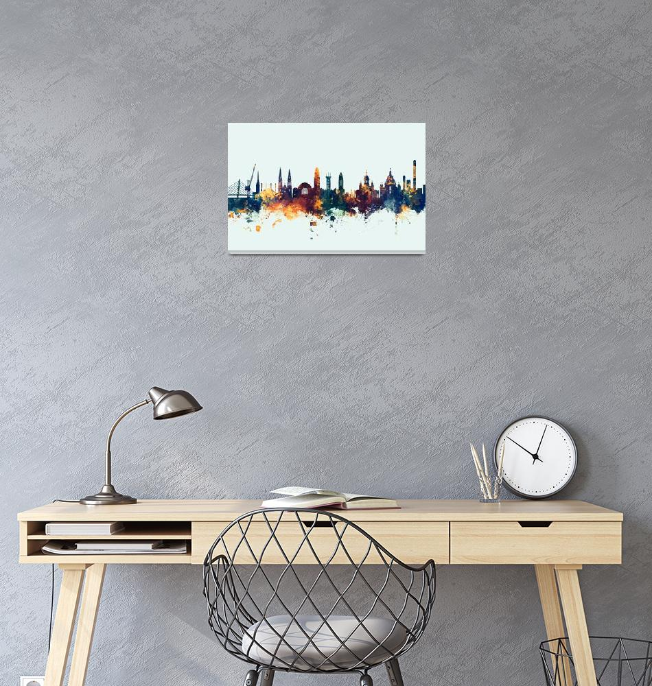 """Helsinki Finland Skyline""  (2018) by ModernArtPrints"