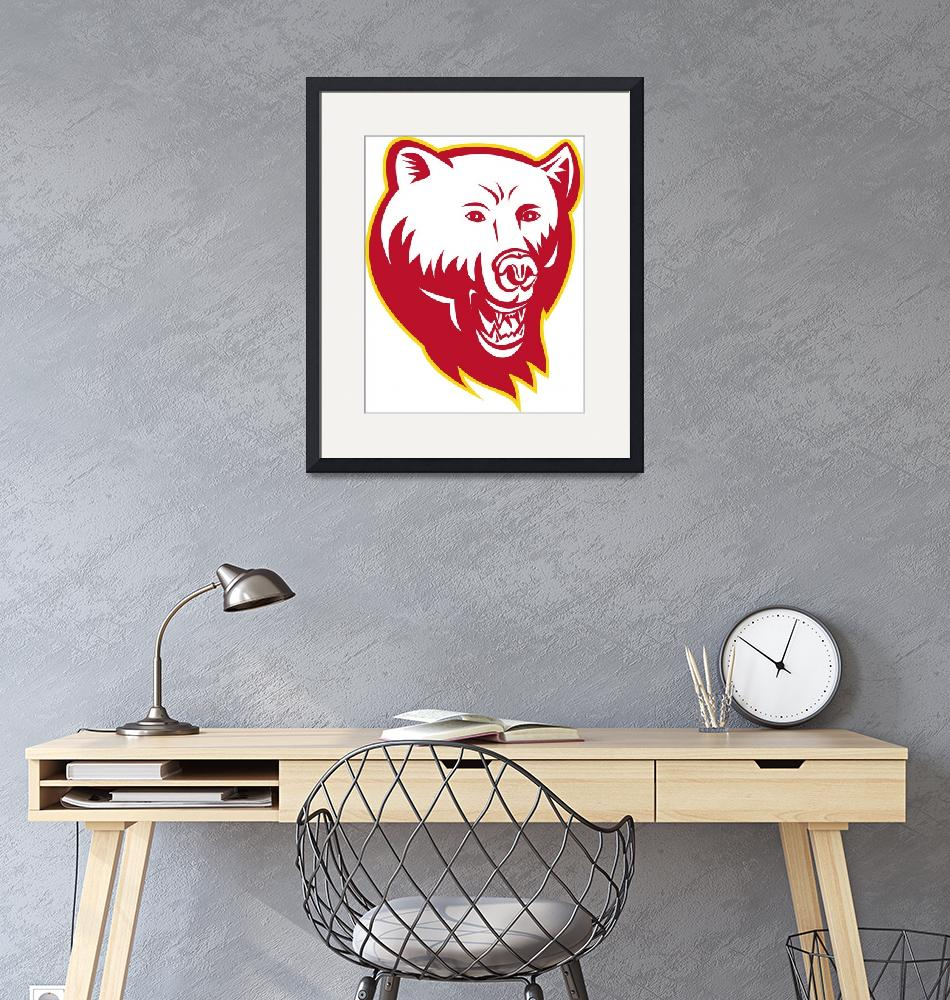 """""""Angry Grizzly Bear Head""""  (2013) by patrimonio"""