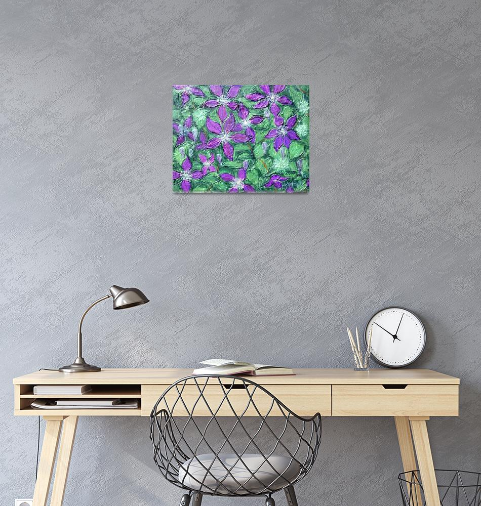 """Purple Clematis Painting""  (2007) by catnip009"