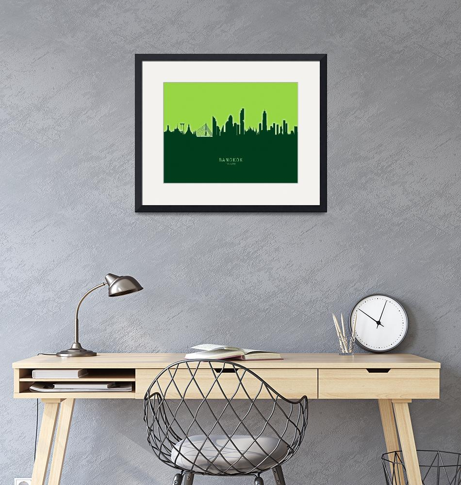 """Bangkok Thailand Skyline""  (2020) by ModernArtPrints"
