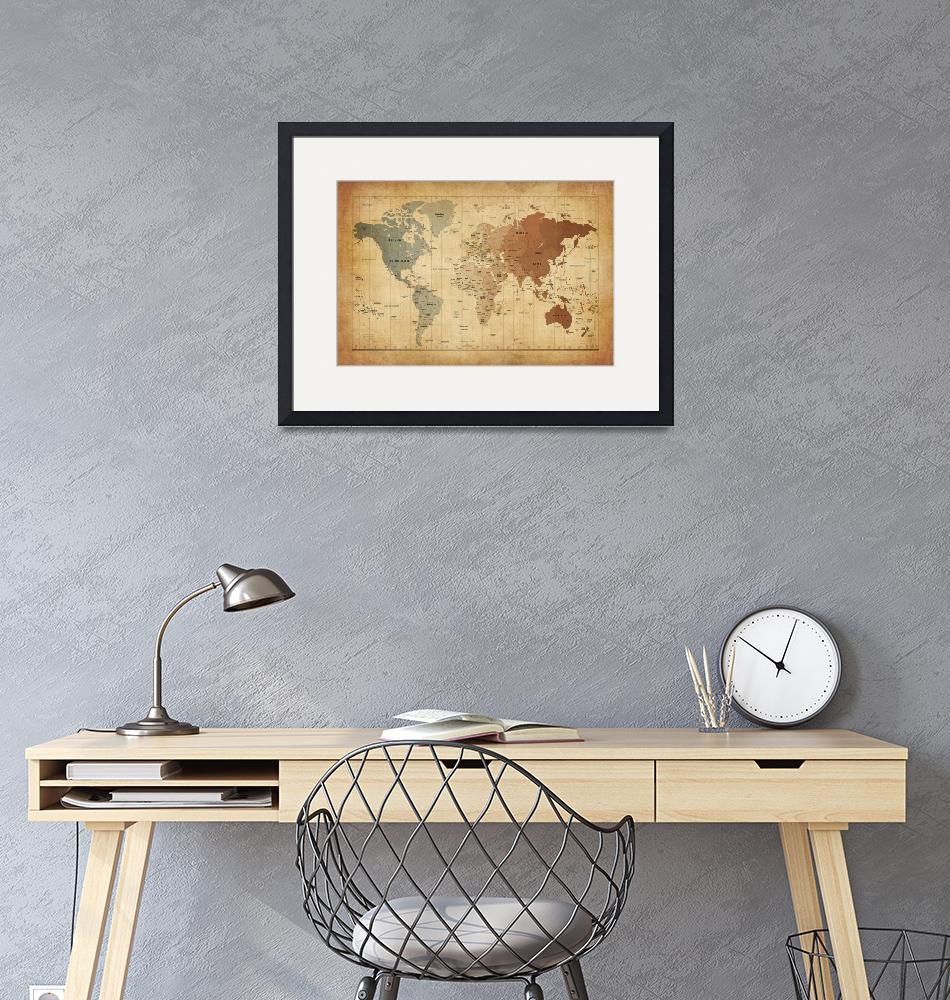 """Time Zones Map of the World""  (2012) by ModernArtPrints"