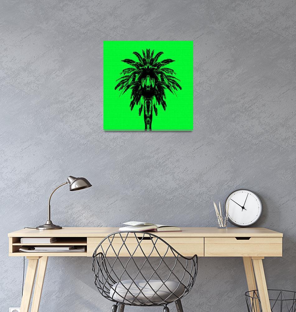 """Palm Tree - Green Sky""  (2015) by e_morningstar"
