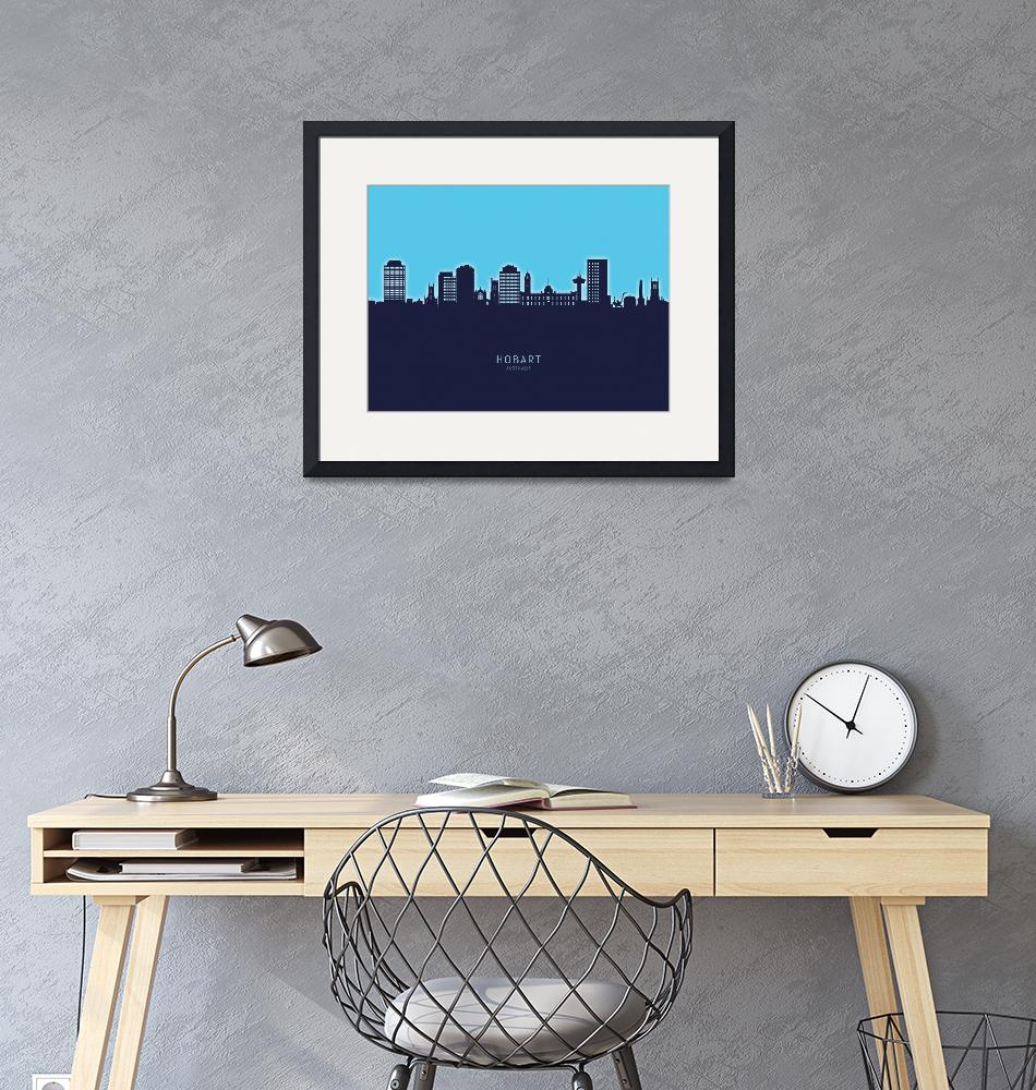 """Hobart Australia Skyline""  (2020) by ModernArtPrints"