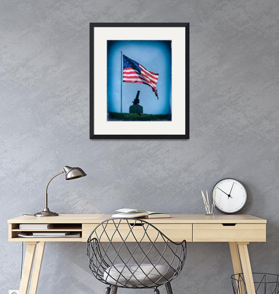 """""""Federal Hill Flag w Vintage Cannon over Baltimore""""  by travel"""