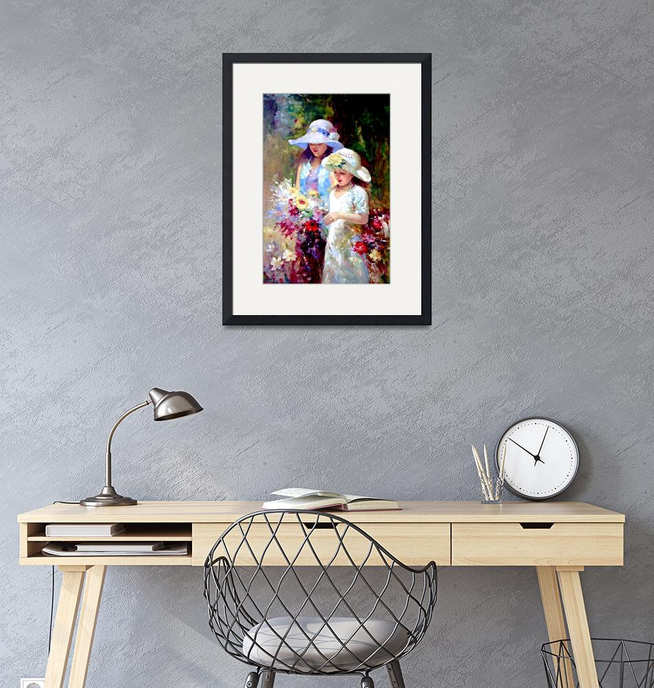 """""""Two Young Girls Picking Flower""""  (2000) by cneartgallery"""