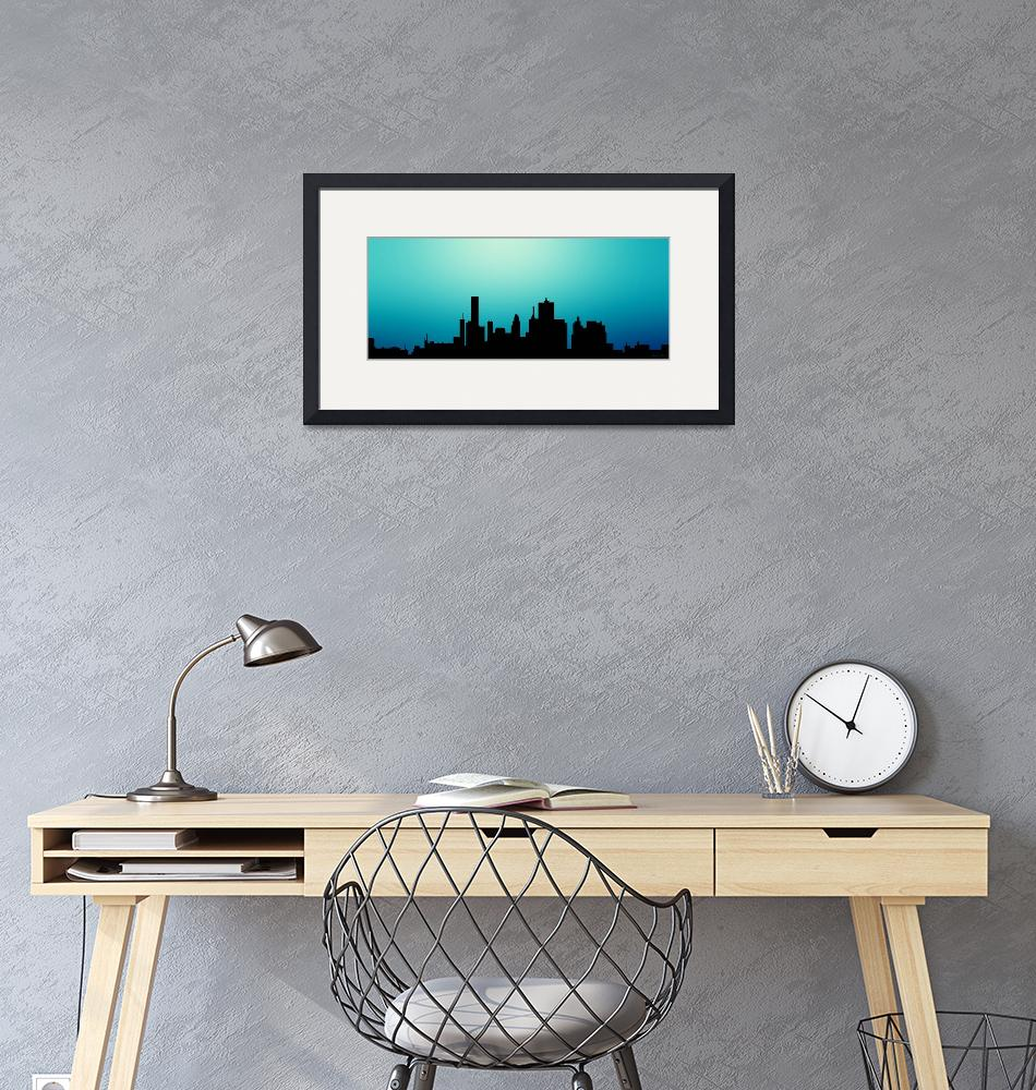 """""""Decorative Abstract Skyline Houston R1115A""""  (2015) by MasArtStudio"""