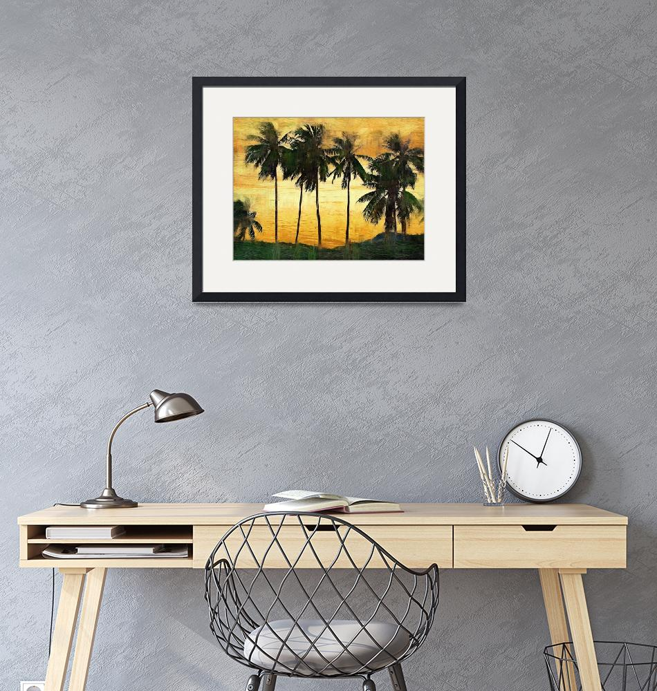 """""""Palm Trees at Sunset""""  (2009) by talgreen"""