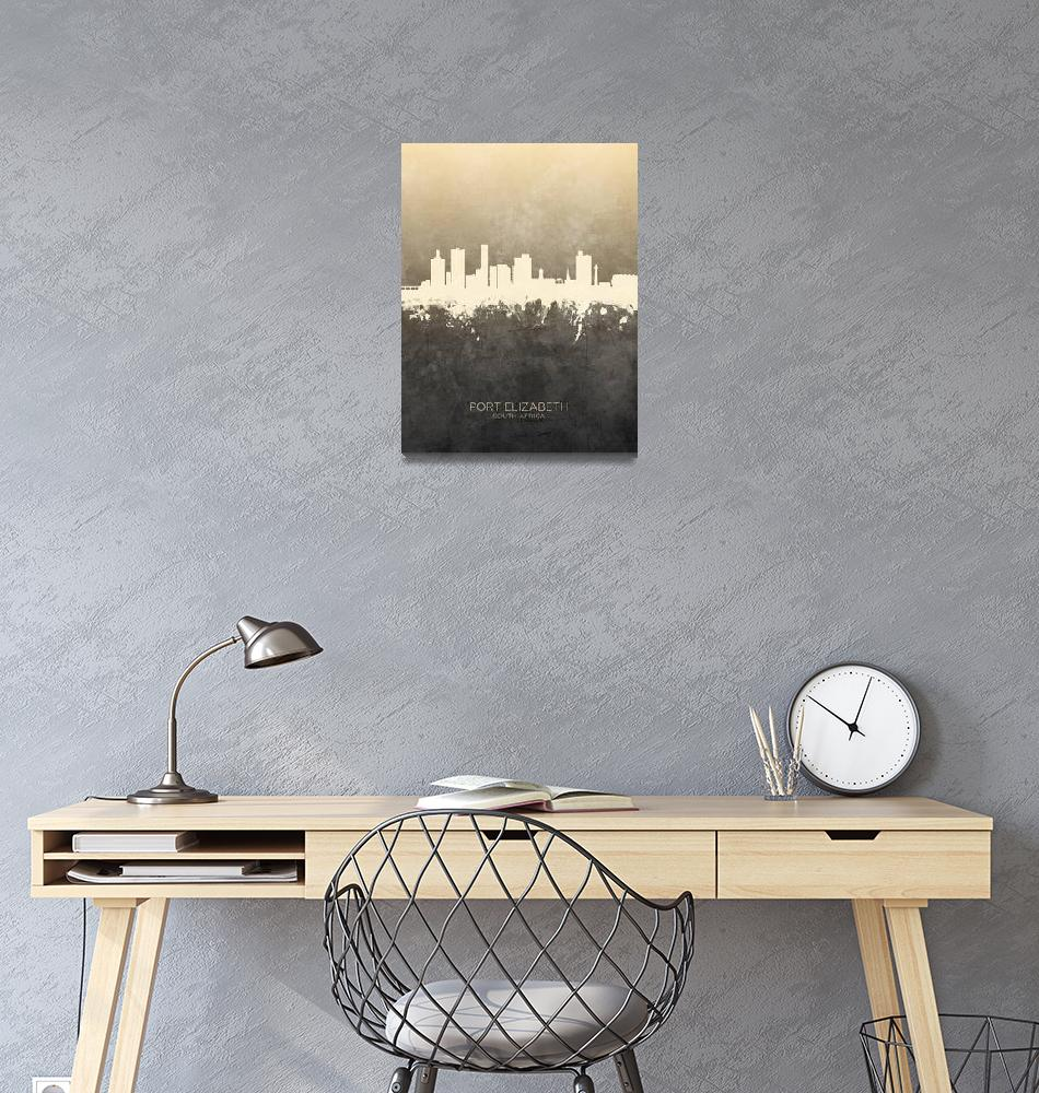 """Port Elizabeth South Africa Skyline""  (2019) by ModernArtPrints"