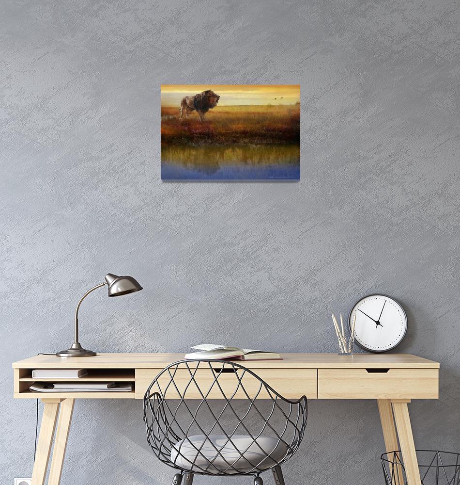 """savanna reflection african lion""  (2014) by rchristophervest"