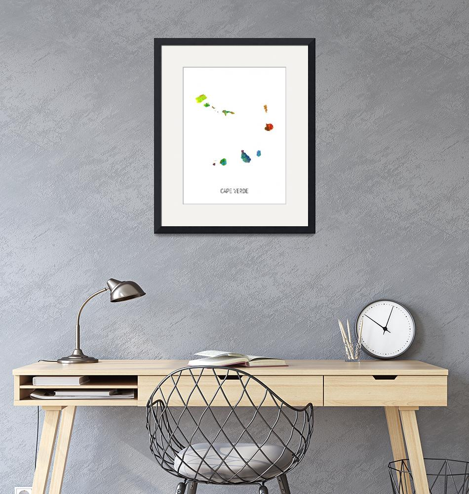 """Cape Verde Watercolor Map""  (2019) by ModernArtPrints"