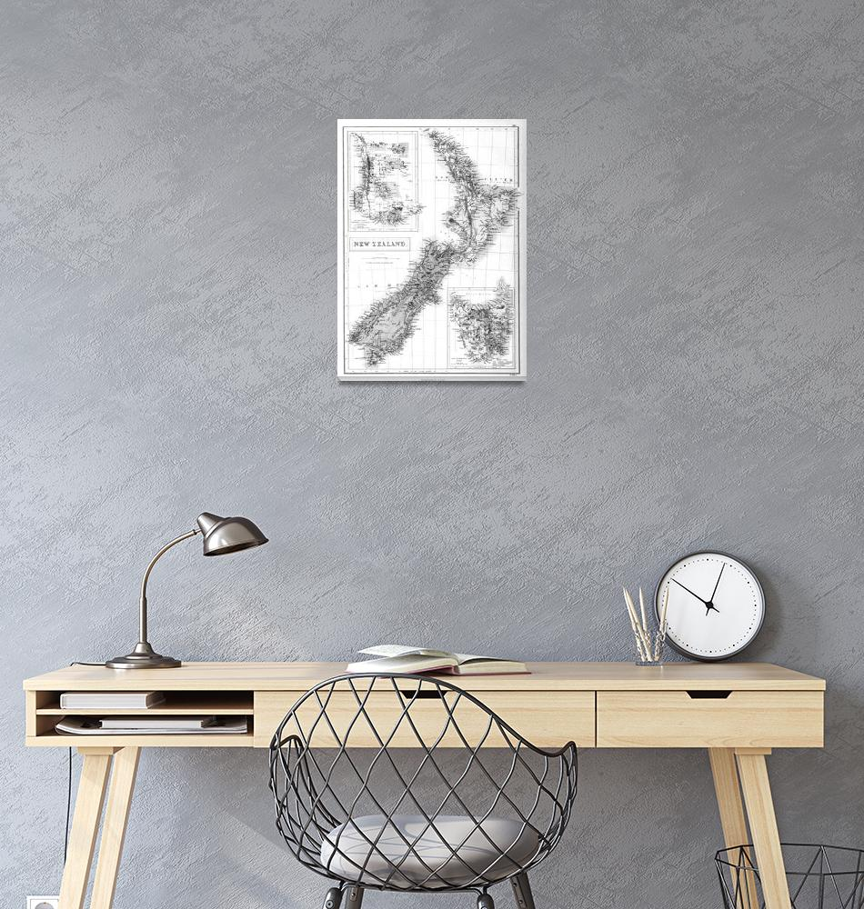 """""""Vintage Map of New Zealand (1854) BW""""  by Alleycatshirts"""
