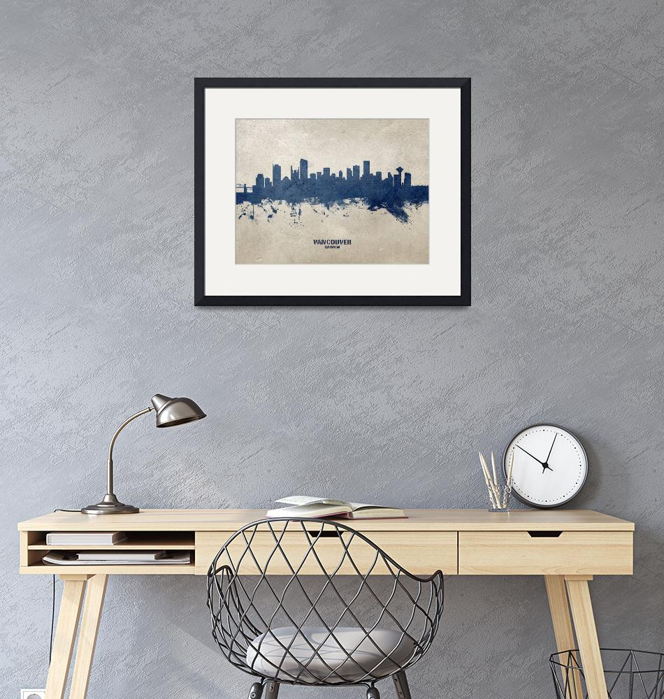 """Vancouver Canada Skyline""  (2020) by ModernArtPrints"