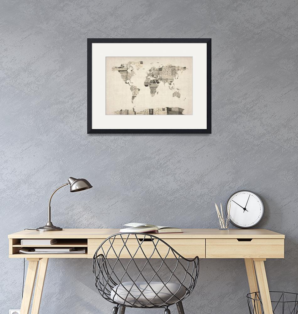 """Map of the World Map from Old Postcards"" (2012) by ModernArtPrints"