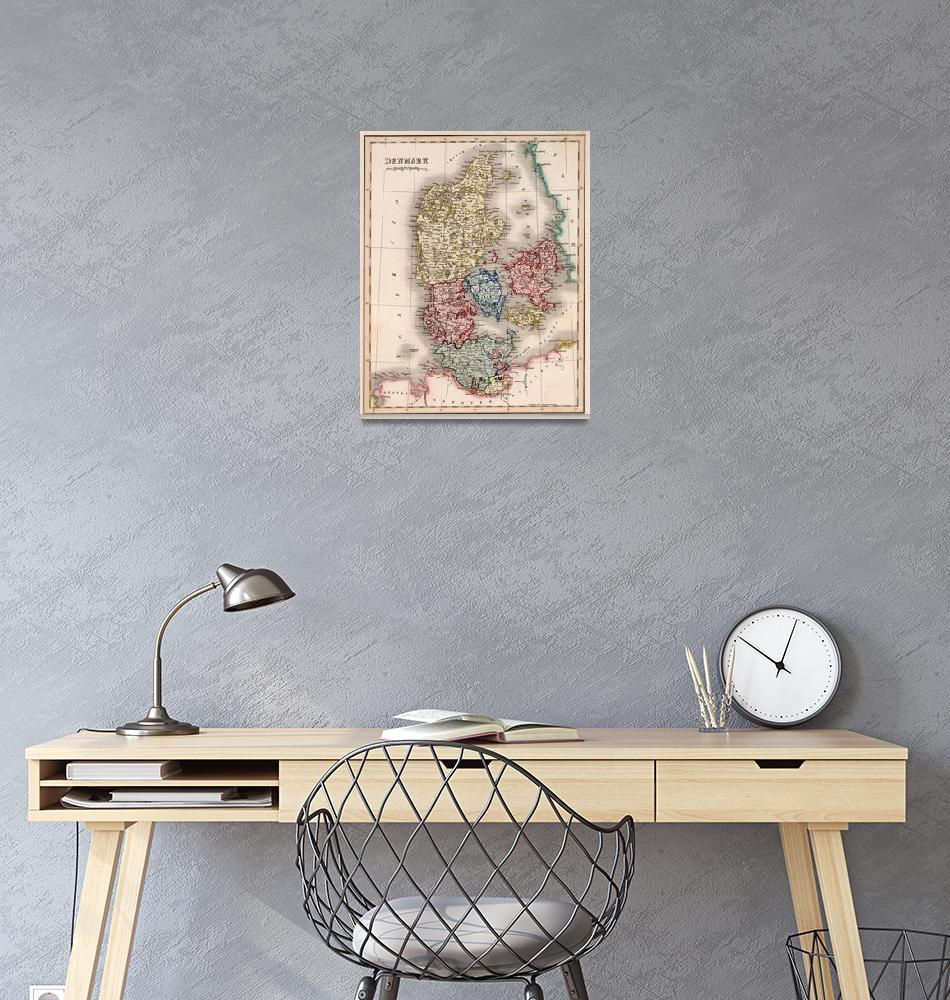 """""""Vintage Map of Denmark (1838)""""  by Alleycatshirts"""