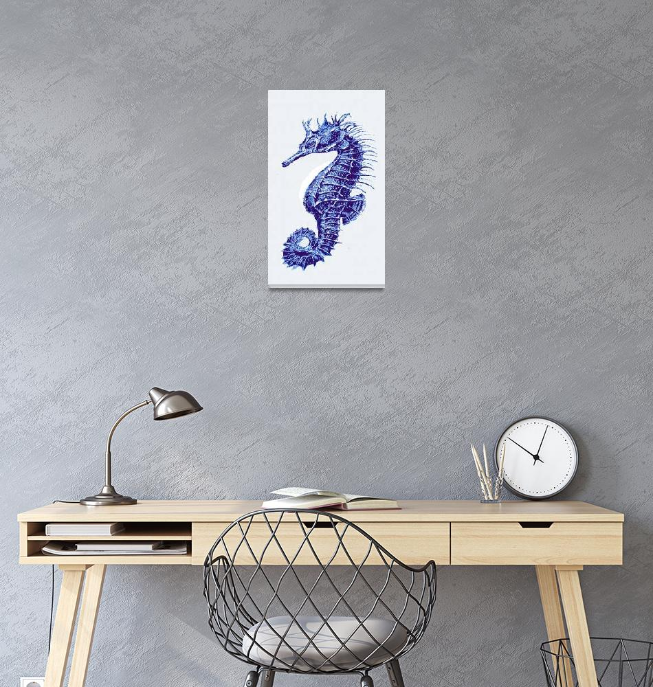 """blue vintage seahorse- right""  (2013) by pietrastone"