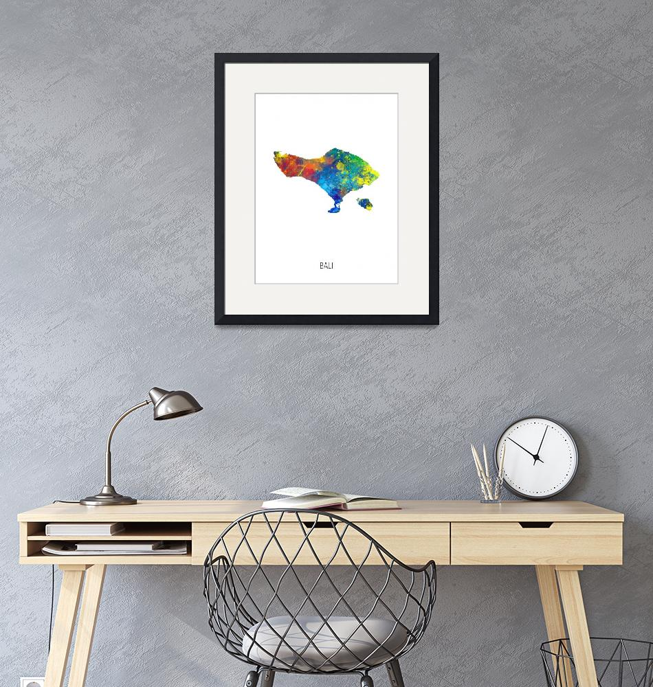 """Bali Watercolor Map""  (2019) by ModernArtPrints"