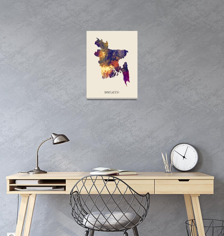 """Bangladesh Watercolor Map""  (2019) by ModernArtPrints"