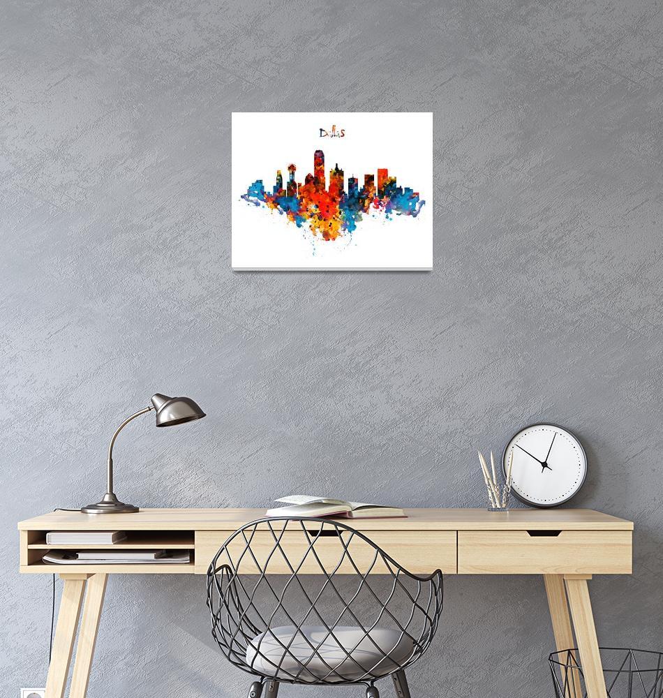 """Dallas Watercolor Skyline""  (2015) by MarianVoicu"