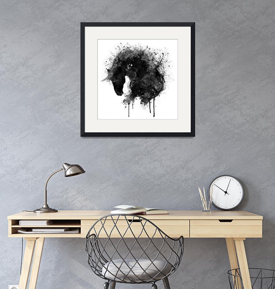 """""""Black and White Horse Head Watercolor Silhouette"""" (2017) by MarianVoicu"""