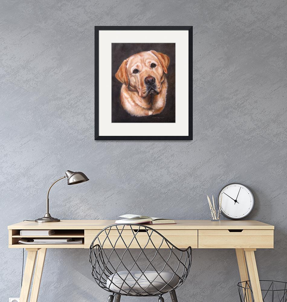 """""""Yellow Labrador Dog Portrait Painting""""  (2012) by DogsandFlowers"""