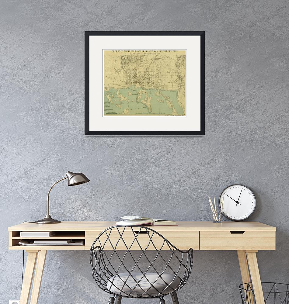 """Vintage Map of Port Au Prince Haiti (1899)""  by Alleycatshirts"