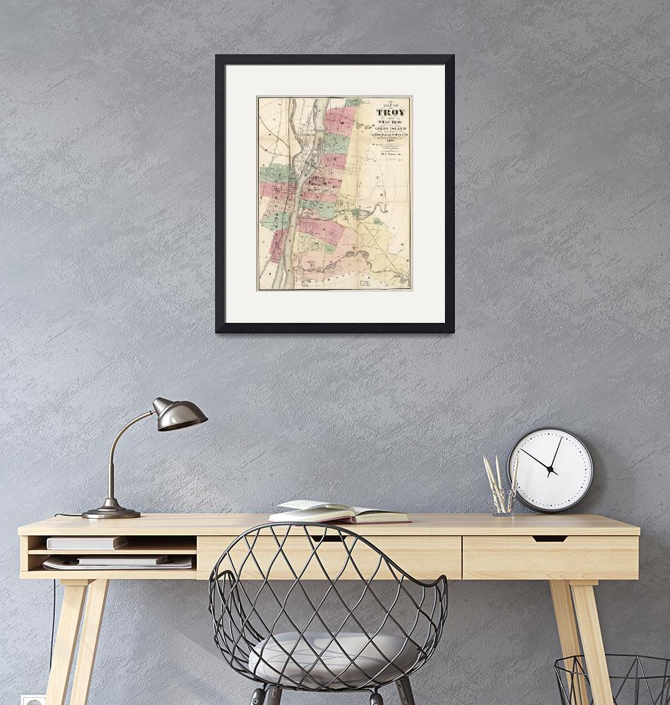"""""""Vintage Map of Troy NY (1874)""""  by Alleycatshirts"""