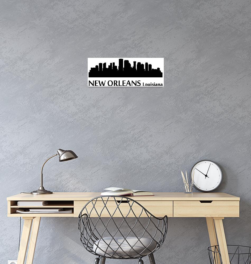 """New Orleans Cityscape Skyline""  (2015) by KWGart"