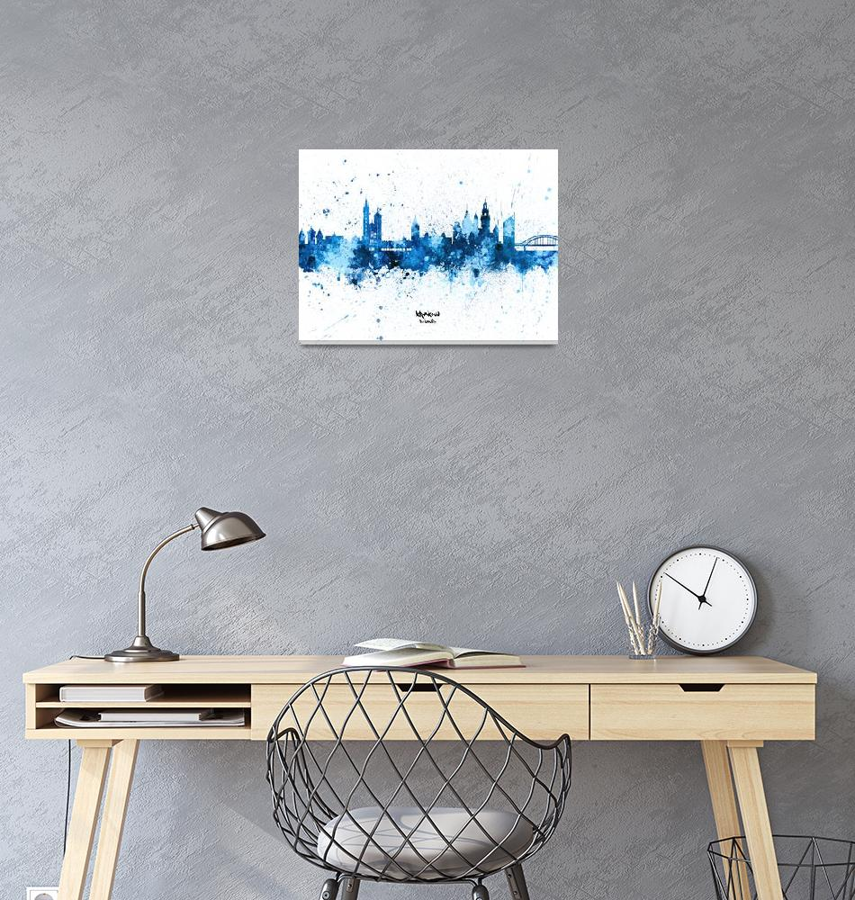 """Krakow Poland Skyline""  (2019) by ModernArtPrints"