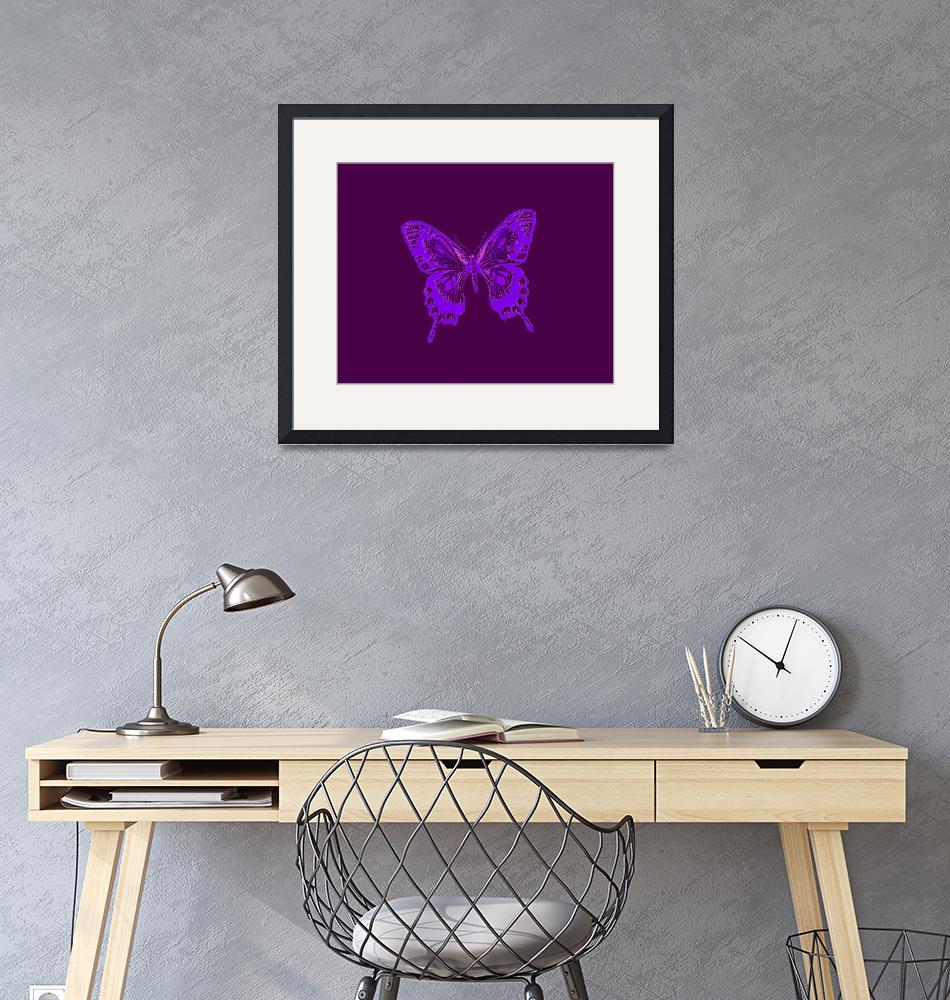 """""""Glowing Blue Violet Butterfly on Violet Background""""  (2013) by TheNorthernTerritory"""