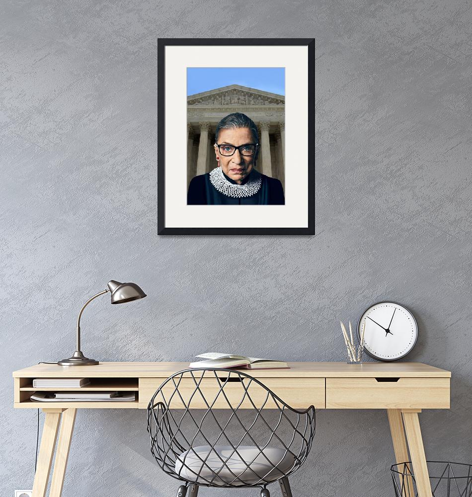 """""""Ruth Bader Ginsburg with Supreme Court background""""  by Artworkzee"""
