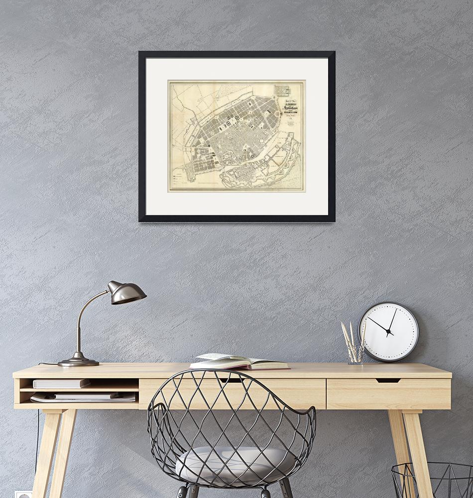"""""""Vintage Map of Copenhagen Denmark Expansions""""  by Alleycatshirts"""