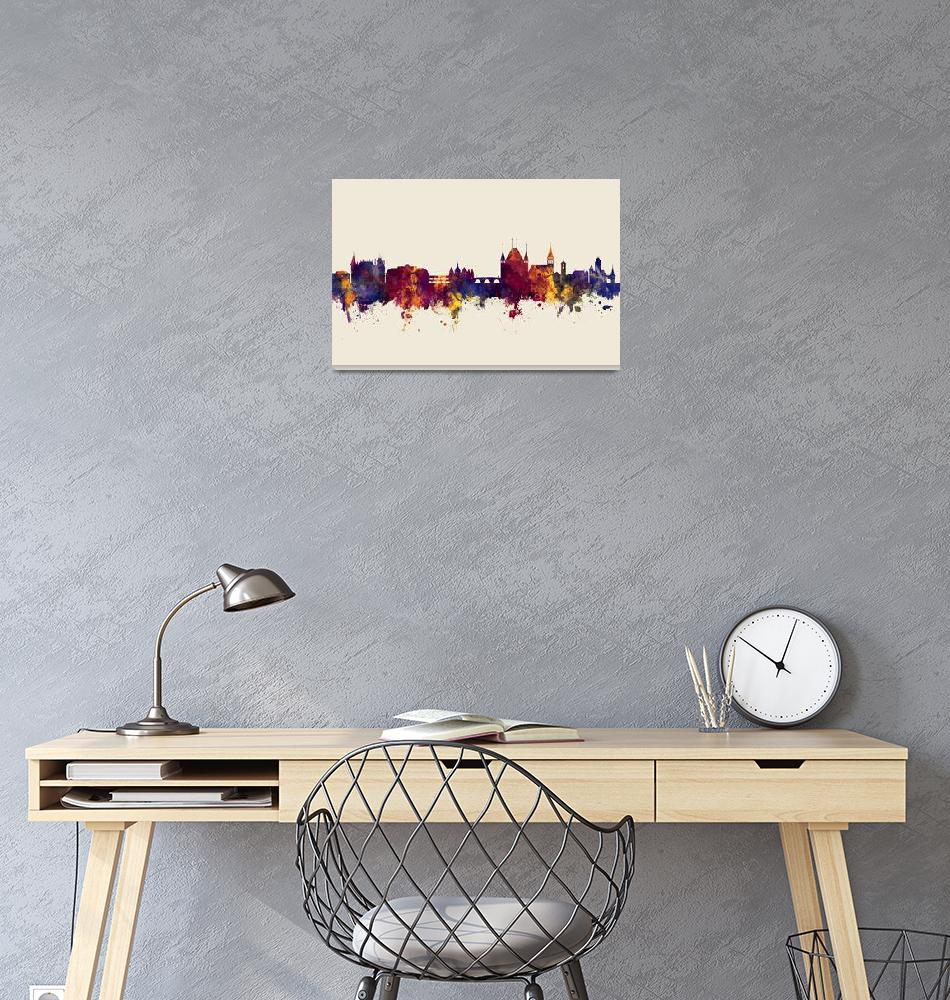 """Thun Switzerland Skyline""  (2017) by ModernArtPrints"