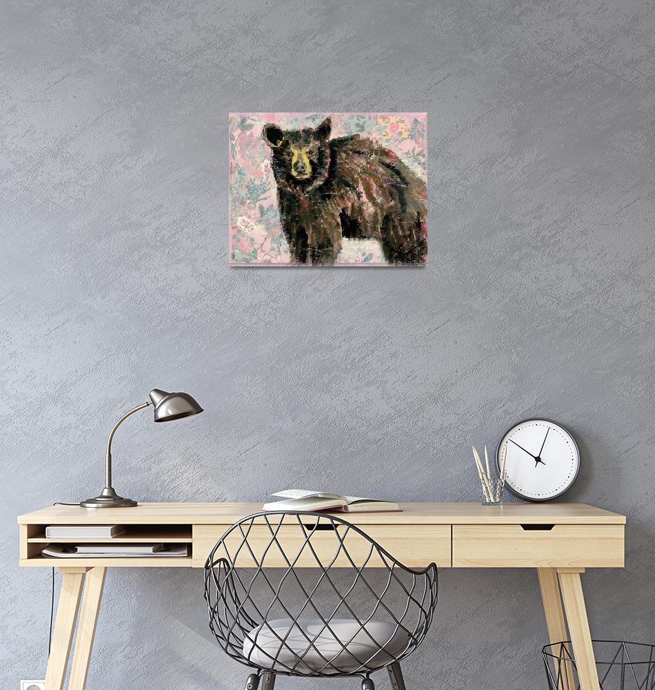 """black bear painting | wildlife art | mama bear""  (2018) by schulmanart"