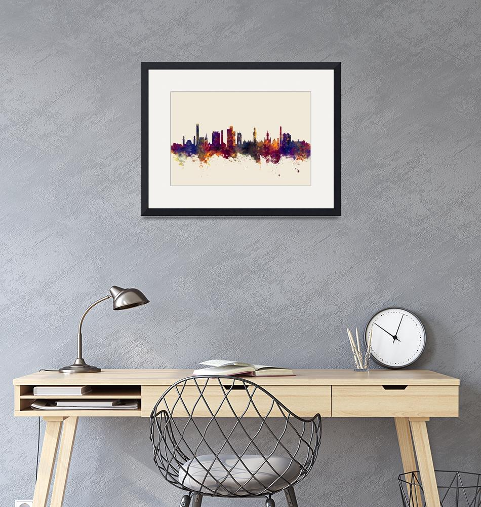 """Bradford England Skyline""  (2018) by ModernArtPrints"