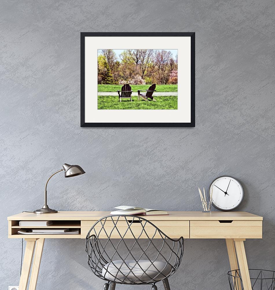 """""""Adirondack Chairs in Spring""""  by susansartgallery"""