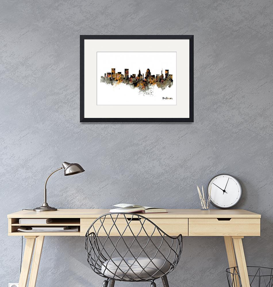 """""""Baltimore Watercolor Skyline""""  (2020) by MarianVoicu"""