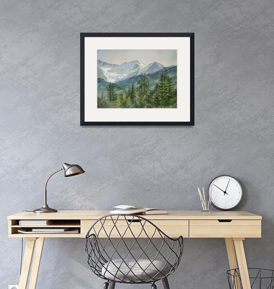 """""""Glacier Valley Morning Sky""""  (2016) by Pacific-NW-Watercolors"""