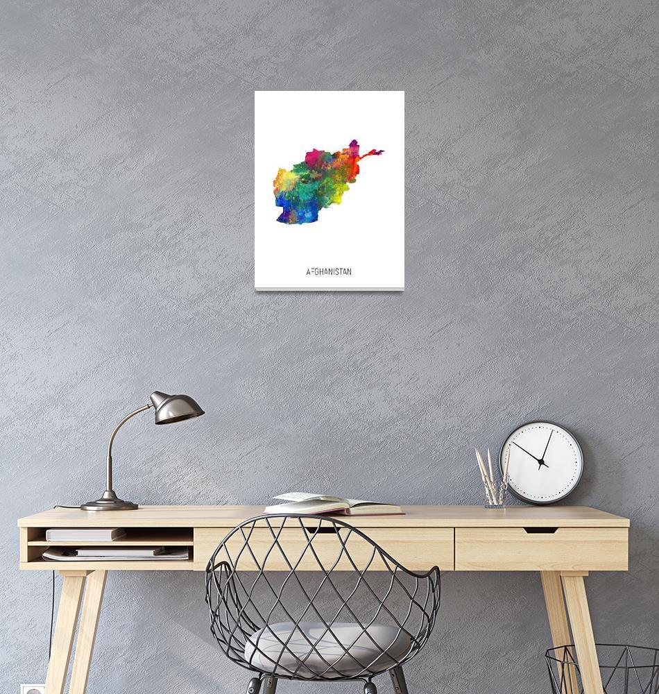 """Afghanistan Watercolor Map""  (2019) by ModernArtPrints"