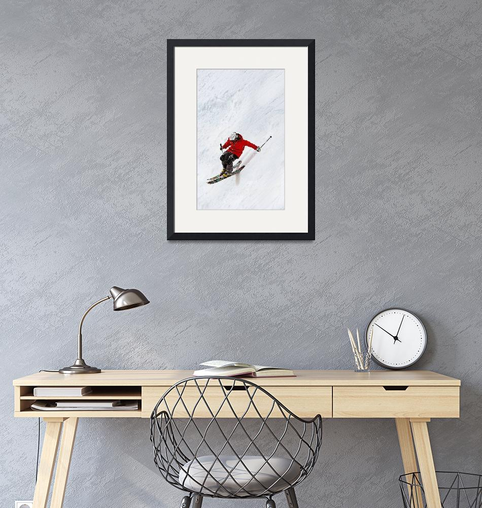 """""""Daring Skier Flying Down a Steep Slope""""  by ElainePlesser"""