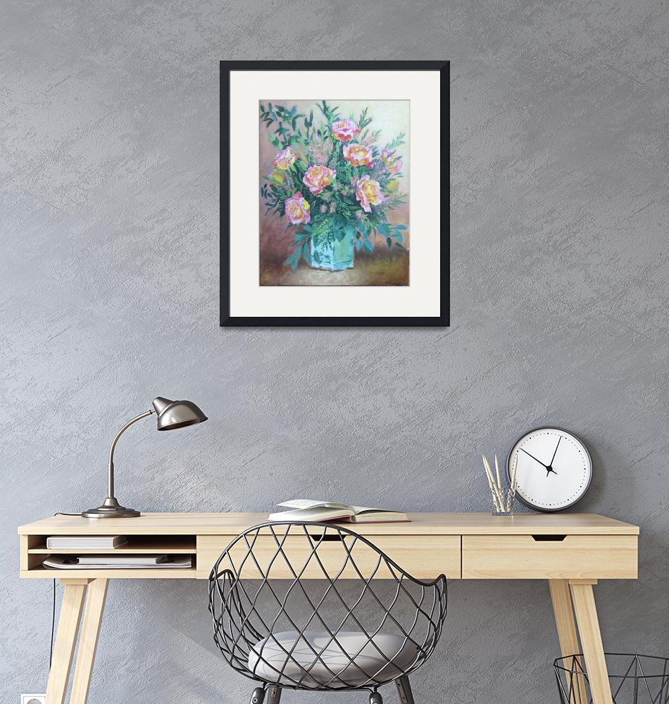 """""""Floral Roses with Leaves in Vase Bouquet Painting""""  (2019) by TetraultArtStudio"""